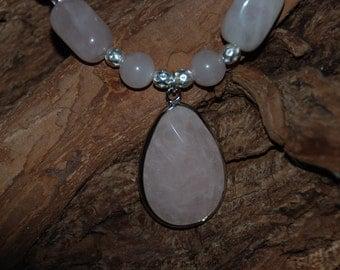 Clearance Rose Quartz Necklace with Rose Quartz Pendant