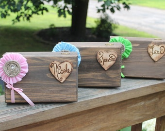 Bridesmaid or Groomsmen Gift Box Set of 3 - Bridal Party Gifts - Personalized - Wood Burned Heart - FREE SHIPPING - Rustic Gift Box
