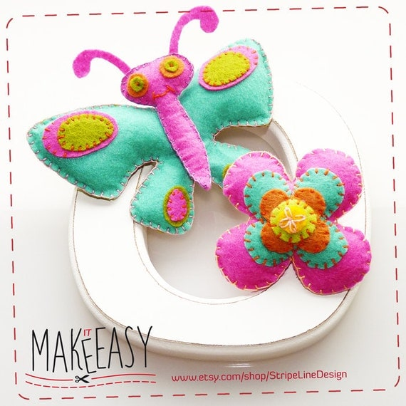 Butterfly and flower - Felt pattern and Tutorial - DIY - Making pattern PDF - Plushie animal Instructions