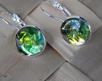Bright green genuine seaglass earrings set in a leverback bezel