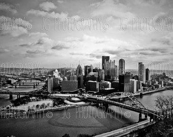 Pittsburgh (black and white, cityscape, Mt. Washington, three rivers)