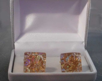 Sparkling  Dichroic Fused Glass Square Cufflinks in 16 colors