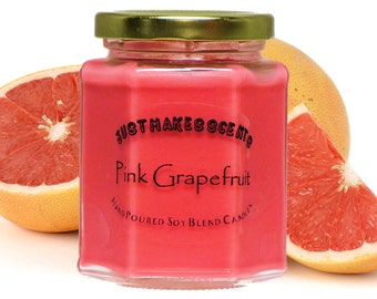 Pink Grapefruit Candle Made With Blended Soy Wax - Free Shipping on Mix & Match Orders of 6 or More - Pink Grapefruit Candles