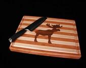 Custom Handmade Rectangle Cutting Board with Inlayed Moose