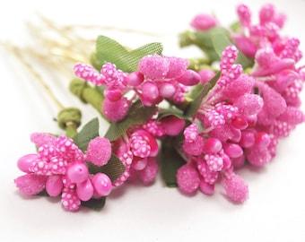 Bridal Hair Accessories, Pink   flora Hair Bobby Pin, Brass Bobby pin- set 10