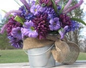 Rustic Centerpiece Purple Silk Flowers Galvanized Bucket for Rustic Wedding Centerpiece or Rustic Home Decor