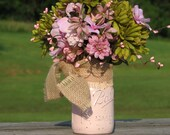 Rustic Centerpiece Pink and Green Silk Flowers painted distressed mason jar pink pip berries silk flowers burlap bow