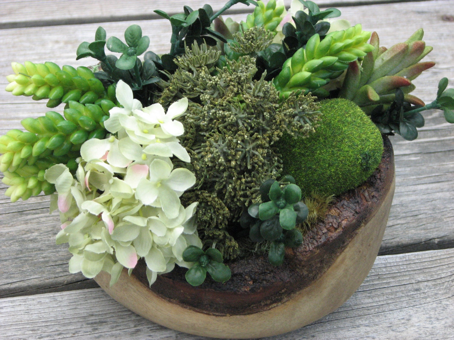 Rustic centerpiece wooden bowl silk flowers greenery