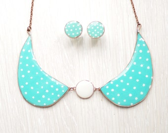 Mint polka dot collar necklace, fashion collar necklace with round polka dots earrings, collar women's clothing accessories