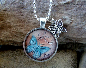 Butterfly Love Pendant Necklace chain and silver charm included, Love Pendant, Art Photo Pendant, Pendant Charm Jewelry
