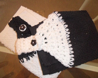 Handmade Crochet Hanging Towels Black and White