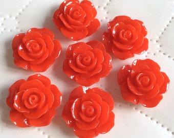 6 pcs 23 mm Cabochon Flowers, Red,23 mm Rose cabochon,Hot red resin flower, 23 mm red cabochon flower, big rose, Crimson cabochon flower