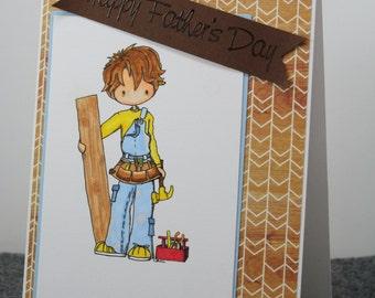 Happy Father's Day Card - DIY Dad Card - Fun Father's Day Card - Father's Day Carpenter Card - To Dad from Child