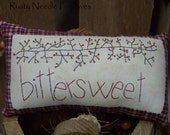 Primitive Stitched Bittersweet Autumn Pillow