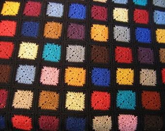 Handmade Crocheted Granny Square Afghan Queen Size