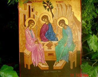 ICON.byzantine icon..holy trinity angel.greek icon.archangel gabriel.christian iconS.russian icon.religious icons.hand painted icon.