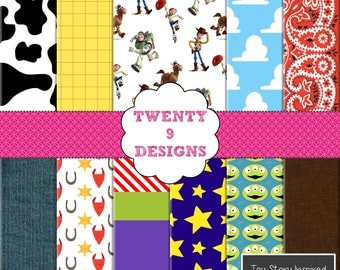 Toy Story Inspired Digital Paper Pack - INSTANT DOWNLOAD