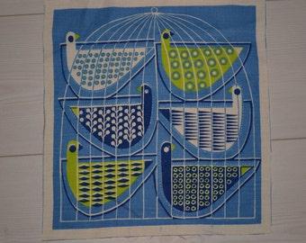 Swedish vintage fabric bird design Maud Fredin Fredholm scandinavian 60s