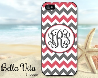 Monogrammed iPhone 5 Case, Pink Grey Chevron, iPhone 5S Case I5S