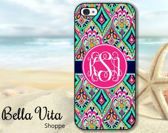 Floral iPhone 5 Case, Personalized iPhone 5 5S Case, Monogram iPhone 5 Case, Pretty Floral Jewels I5S