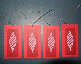 Set of 4 Handmade Christmas Ornament Gift tags