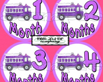 Baby girl month Stickers Fireman firefighter monthly stickers firetruck fire engine Monthly baby stickers fire department stickers