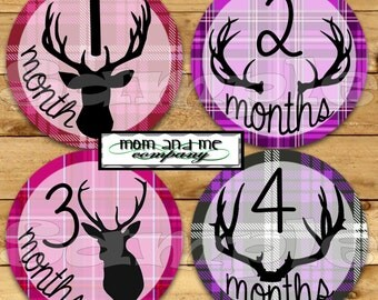 Baby Girl Monthly Stickers Baby Month Milestone Stickers Hunter Deer Antler Baby infant age Sticker Monthly Bodysuit Sticker Woodland Forest