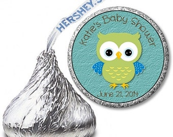 Baby Boy Owl Hershey Kiss Labels - Perfect for favors!