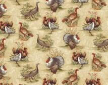 Half Yard Turkey Run - Turkey Run Scenic in Brown and Cream - Cotton Quilt Fabric - by Bristol Bay Studios for Benartex Fabrics (W1605)