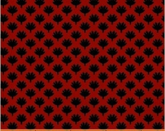 SUPER CLEARANCE! One Yard Fan Leaf in Red - Crazy For Shelburne Cotton Quilt Fabric - Windham Fabrics (W463)
