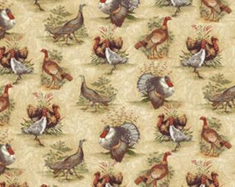 One Yard Turkey Run - Turkey Run Scenic in Brown and Cream - Cotton Quilt Fabric - by Bristol Bay Studios for Benartex Fabrics (W1605)