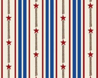 "SUPER CLEARANCE!! 33"" REMNANT By The Sea -  Bay Star Stripe in Royal and Multi - Nautical - Cotton Quilt Fabric - Benartex Fabrics (W1618)"
