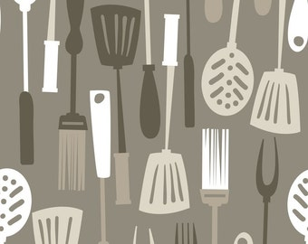 Half Yard Ribs & Bibs - Grill Master in Taupe - Cotton Quilt Fabric - designed by Maude Asbury for Blend Fabrics (W1866)