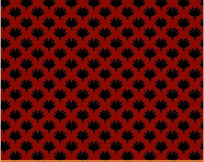 """SUPER CLEARANCE! 14"""" REMNANT Fan Leaf in Red - Crazy For Shelburne Cotton Quilt Fabric - Windham Fabrics (W463)"""
