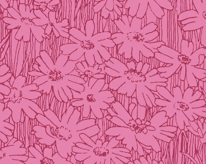 SUPER CLEARANCE! One Yard Tonal Daisies in Pink - Petal Pushers Cotton Quilt Fabric - by Whistler Studios for Windham Fabrics (W472)