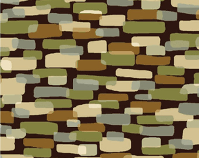SUPER CLEARANCE!! One Yard Leaf Haven - Cobblestones in Leaf Brown - Cotton Quilt Fabric - by Michele D'Amore - Benartex  (W722)