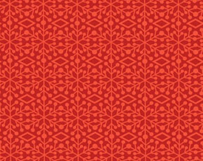 """15"""" REMNANT Ho-Ho-Ho Let It Snow - Frosted Window in Red - Christmas Holiday Cotton Fabric Line By Nancy Halvorsen for Benartex (W964)"""