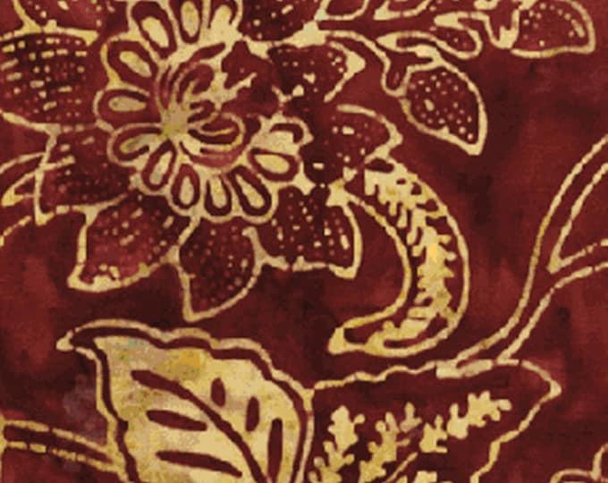 "32"" REMNANT Season's Balis - Passion Flower in Maroon - Cotton Quilt Fabric - Benartex Fabrics - sku 1970-28 (W1073)"