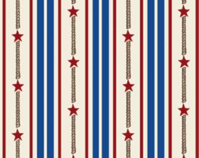 SALE!! Fat Quarter By The Sea -  Bay Star Stripe in Royal and Multi - Nautical - Cotton Quilt Fabric from Benartex Fabrics (W1618)