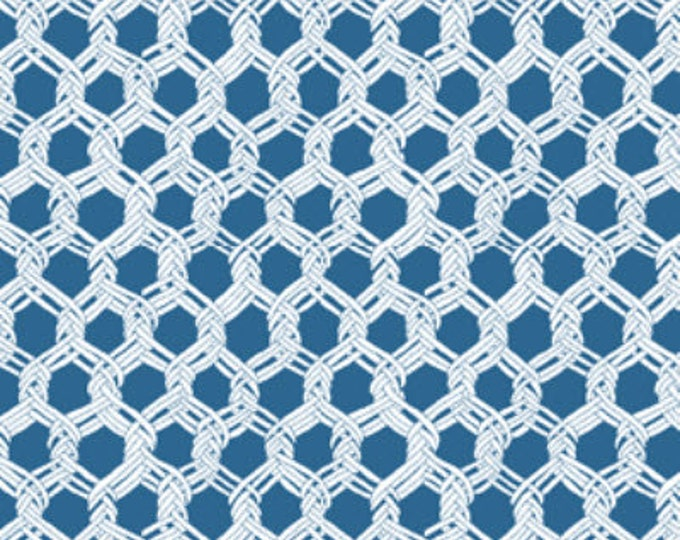 SUPER CLEARANCE!! One Yard By The Sea -  Landing Net in Blue - Nautical - Cotton Quilt Fabric from Benartex Fabrics (W1622)
