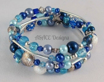 Unique Silver & Blue Memory Wire Bracelet