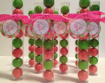 Preppy Argyle Pink & Green Tennis Gumball Party Favors, Set of 12, Personalized Tag tied with Grosgrain Ribbon