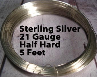15% Off SALE!! Sterling Silver Wire, 21 Gauge, 5 Feet WHOLESALE, Half Hard, Round.