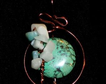Amazonite Tree Magnesite Full Moon Tree pendants