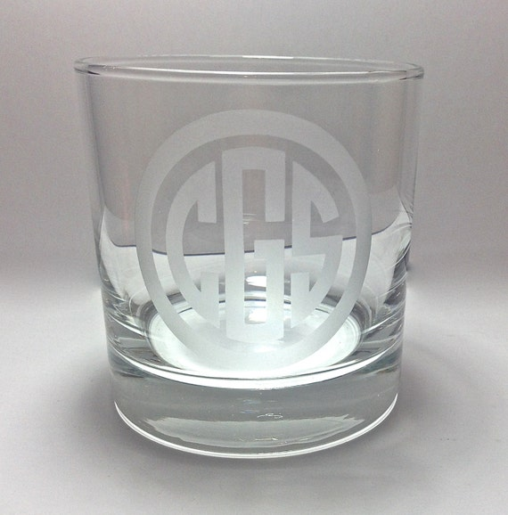 Etched Monogrammed Whiskey Glass