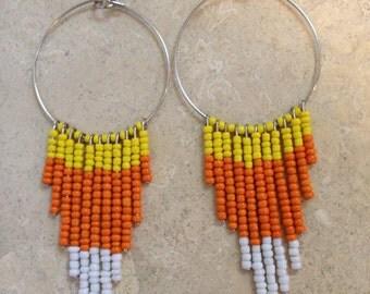 Candy Corn Fringe Earrings- Halloween Earrings- Holiday Jewelry