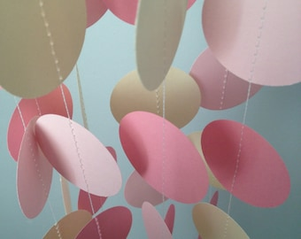 Cream, Light Pink, Pink 12 ft Circle Paper Garland- Party Decorations, Birthday, Wedding, Bridal Shower, Baby Shower