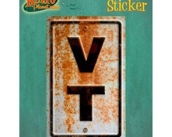Vermont VT State Abbreviation Rusted Vinyl Sticker #52332
