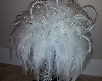 CRYSTAL BOUQUET and BOUTONNIERE - Swarovski Crystal and Feather Bridal Bouquet And Matching Boutonniere - Made with over 60 Crystals