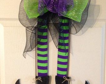 HALLOWEEN WREATH,Halloween  Door Hanger, Witches Leg Door Hanger, Fall Wreath, Halloween Wreath, Witches Legs Wreath, Halloween Decor